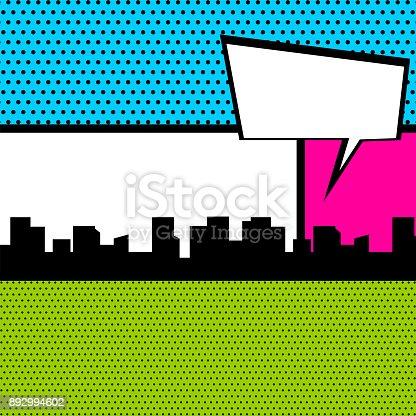 istock Pop art comic book colored backdrop 892994602