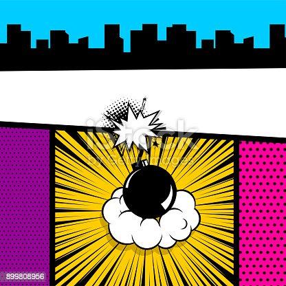 istock Pop art comic book colored backdrop 899808956