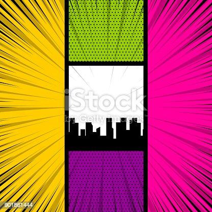 istock Pop art comic book colored backdrop 901861444