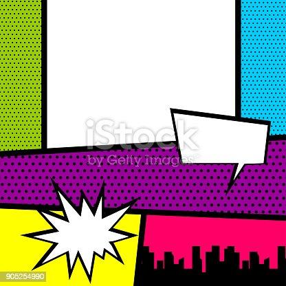 istock Pop art comic book colored backdrop 905254990