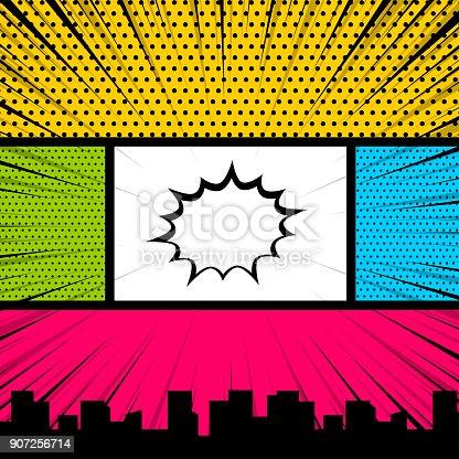istock Pop art comic book colored backdrop 907256714