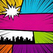 Cartoon funny vintage strip comic city view. Blank humor graphic. Pop art comics book magazine cover template.Text speech bubble balloon, box message, burst bomb. Vector colored halftone illustration