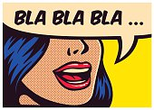 Pop art comic book girl talking non-sense gossip vector illustration