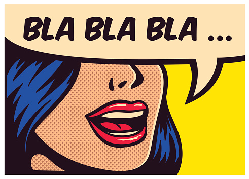 Pop Art Comic Book Girl Talking Nonsense Gossip Vector Illustration 낱말에 대한 스톡 벡터 아트 및 기타 이미지