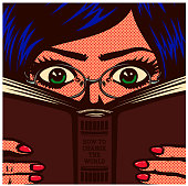 Pop art comic book style bookworm nerdy female student girl wearing glasses studying and reading book manual vector illustration