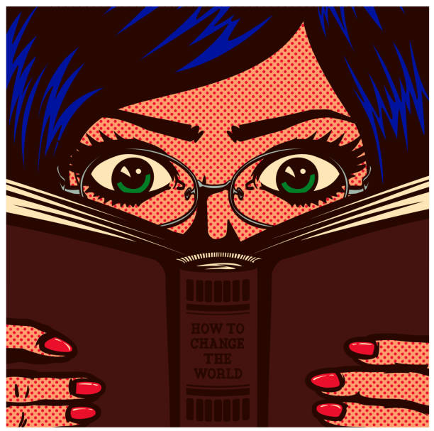 Pop art comic book nerdy bookworm female student girl studying and reading book vector illustration Pop art comic book style bookworm nerdy female student girl wearing glasses studying and reading book manual vector illustration reading stock illustrations