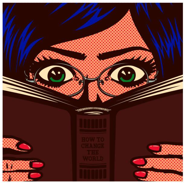 팝 아트 만화 못 난 책 벌레 여성 학생 여자 공부 하 고 읽는 책 벡터 일러스트 레이 션 - reading stock illustrations