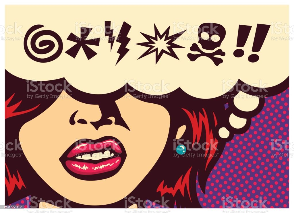 Pop art comic book panel with angry woman grinding teeth and speech bubble with swear word symbols vector royalty-free pop art comic book panel with angry woman grinding teeth and speech bubble with swear word symbols vector stock vector art & more images of adult