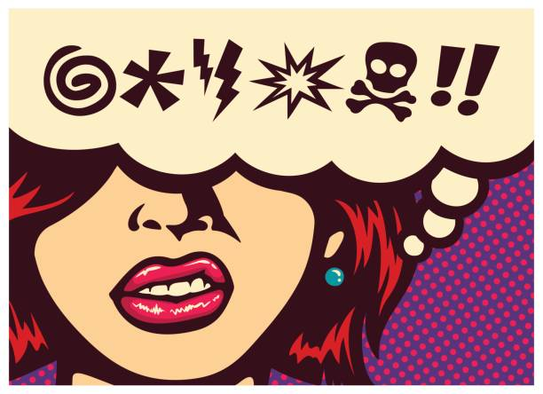 Pop art comic book panel with angry woman grinding teeth and speech bubble with swear word symbols vector Pop art style comics panel angry woman grinding teeth with speech bubble and swear words symbols vector illustration displeased stock illustrations
