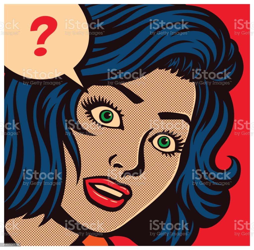 Pop art comic book panel with confused woman and speech bubble with question mark vector illustration royalty-free pop art comic book panel with confused woman and speech bubble with question mark vector illustration stock vector art & more images of adult