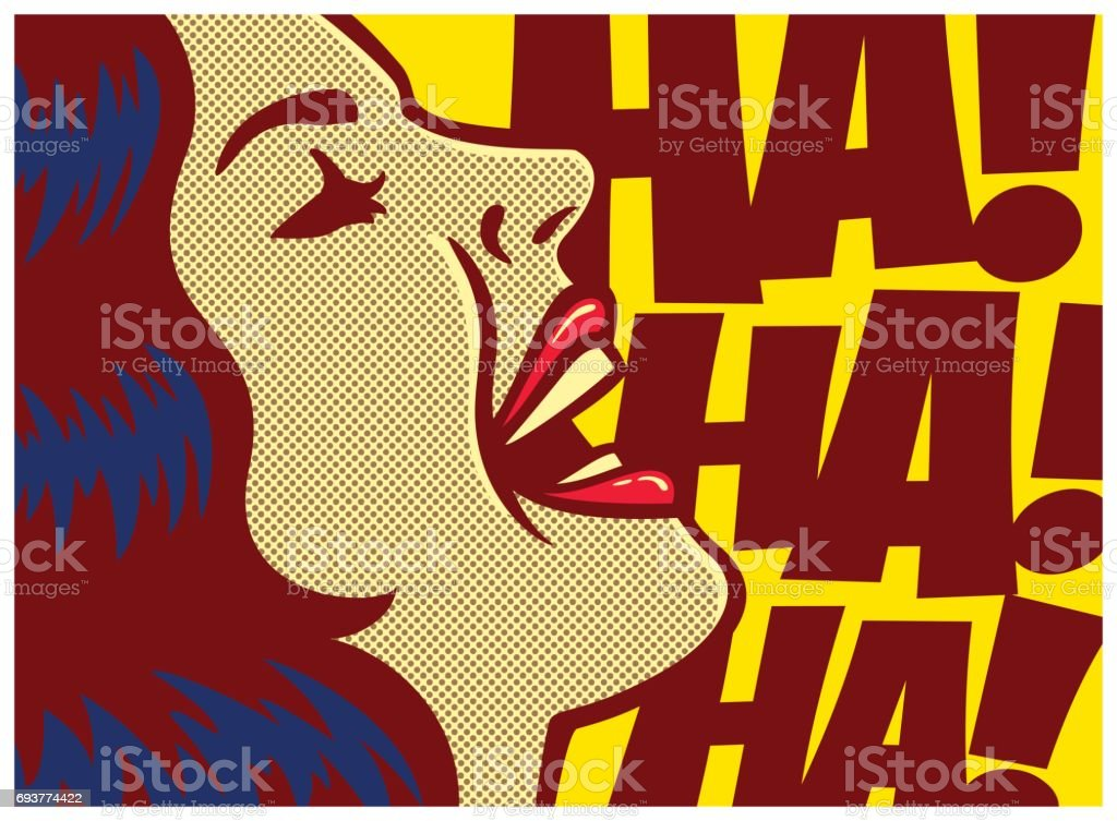 Pop art comic book panel woman laughing out loud vector illustration vector art illustration