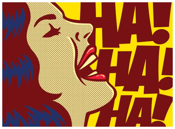 pop art comic book panel woman laughing out loud vector illustration - radość stock illustrations