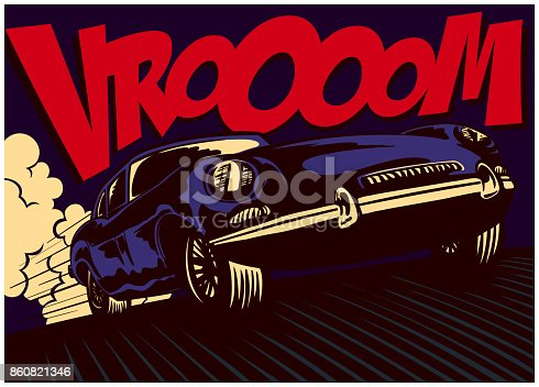 Pop art comics style fast car driving at full speed with vrooom onomatopoeia vector illustration