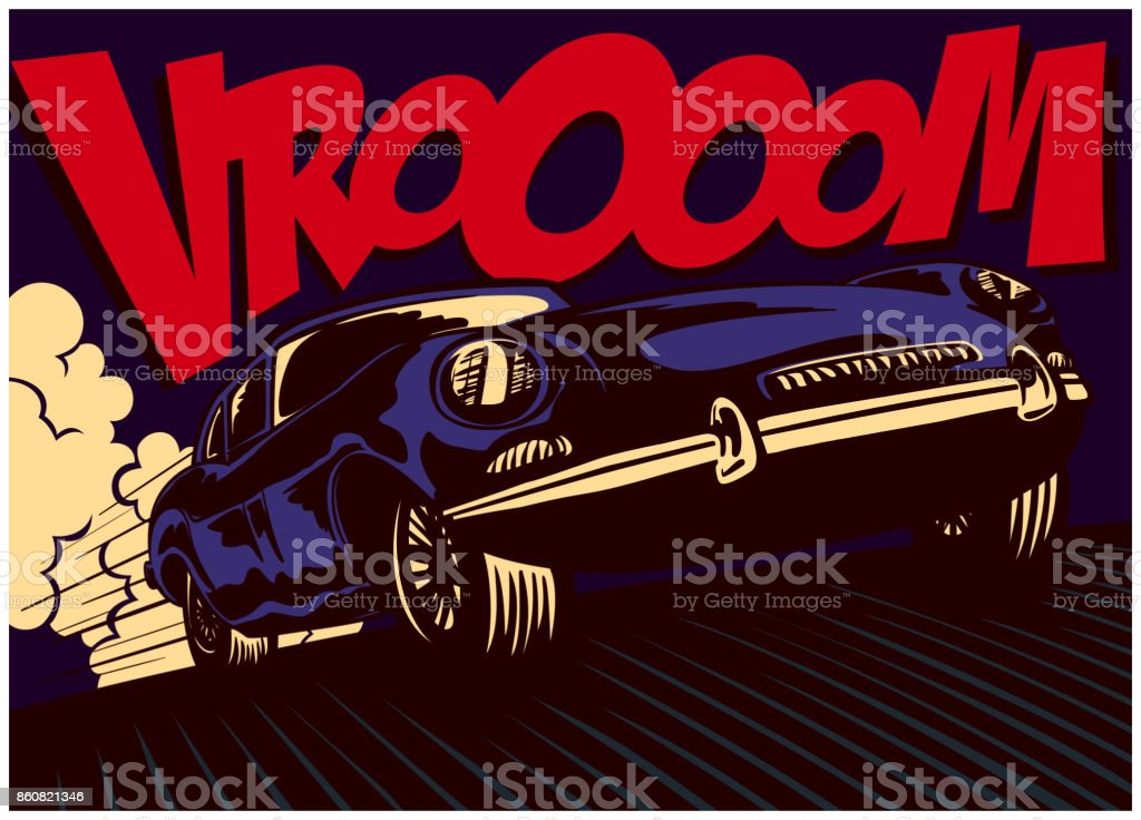 Pop art comic book style fast car at full speed vector illustration vector art illustration