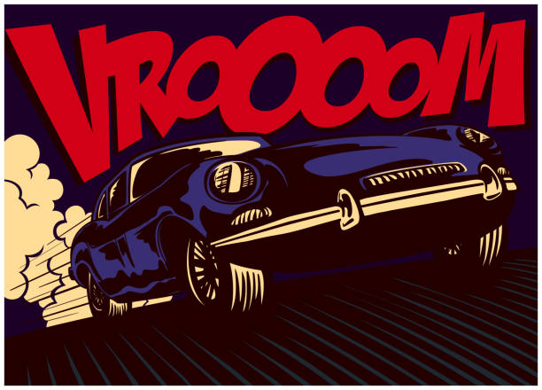 pop art comic book style fast car at full speed vector illustration - sound effects stock illustrations, clip art, cartoons, & icons