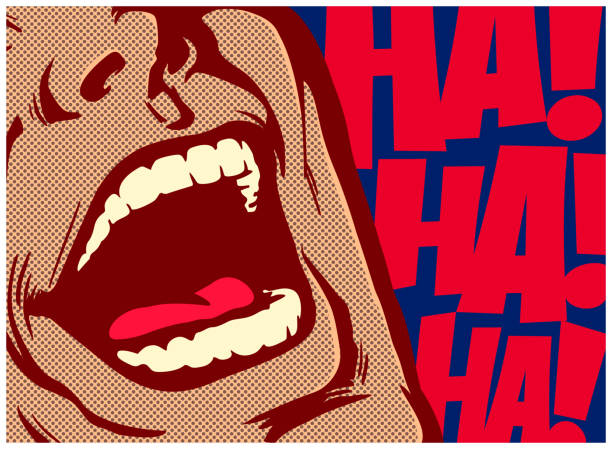 pop art comic book style mouth of man laughing out loud vector illustration - поп арт stock illustrations