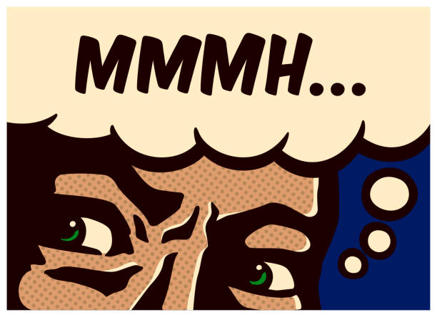 stockillustraties, clipart, cartoons en iconen met popart comic book stijl perplex en verdachte man denken en mompelen vectorillustratie - achterdocht