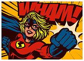 Pop art comic book style super heroine punching with female superhero costume original vector illustration