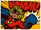Pop art comic book style super heroine punching with female superhero costume original vector illustration