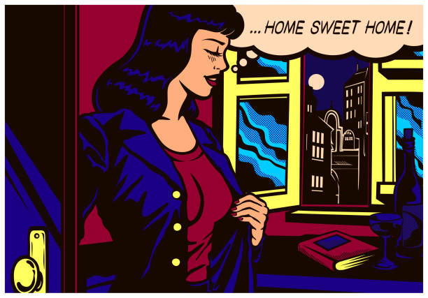 Pop art comic book style woman coming home after work to her flat vector illustration vector art illustration