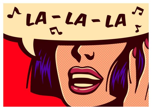 stockillustraties, clipart, cartoons en iconen met popart comic book stijl vrouw zingen kinderachtig melodie vectorillustratie - zingen