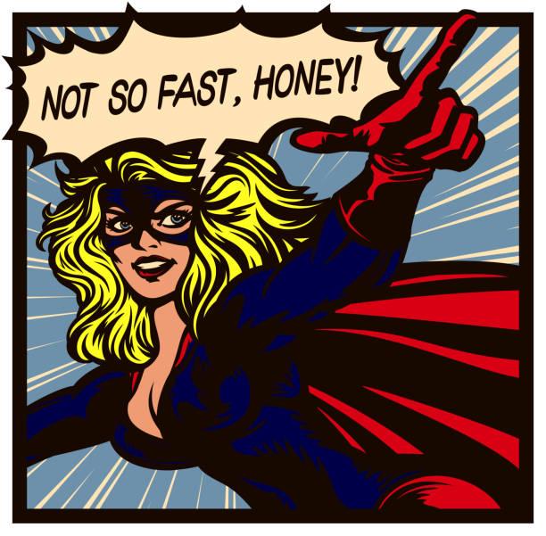 pop art comic buch superheroine zeigt finger weiblichen superhelden-vektor-illustration - superwoman stock-grafiken, -clipart, -cartoons und -symbole