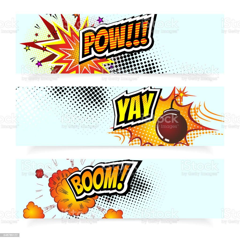 Pop Art Comic Book Vector Illustration.   Design Elements. Explosion Bomb vector art illustration