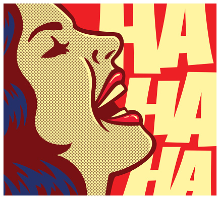 Pop art style comic book woman having fun and laughing out loud vector poster design illustration