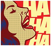 Pop art comic book woman laughing out loud vector illustration
