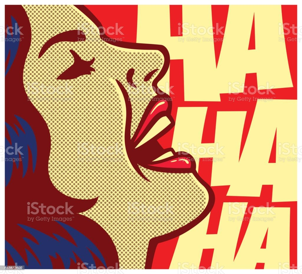 Pop art comic book woman laughing out loud vector illustration vector art illustration
