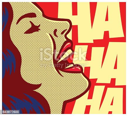 Pop Art Comic Book Woman Laughing Out Loud Vector Illustration Stock Vector Art & More Images of Adult 643872600