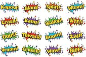 Comic Style speech bubbles with Sound Effect related text in retro pop art style isolated on white background.