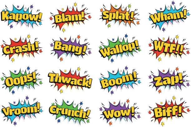pop art comic sound effects bubbles - sound effects stock illustrations, clip art, cartoons, & icons