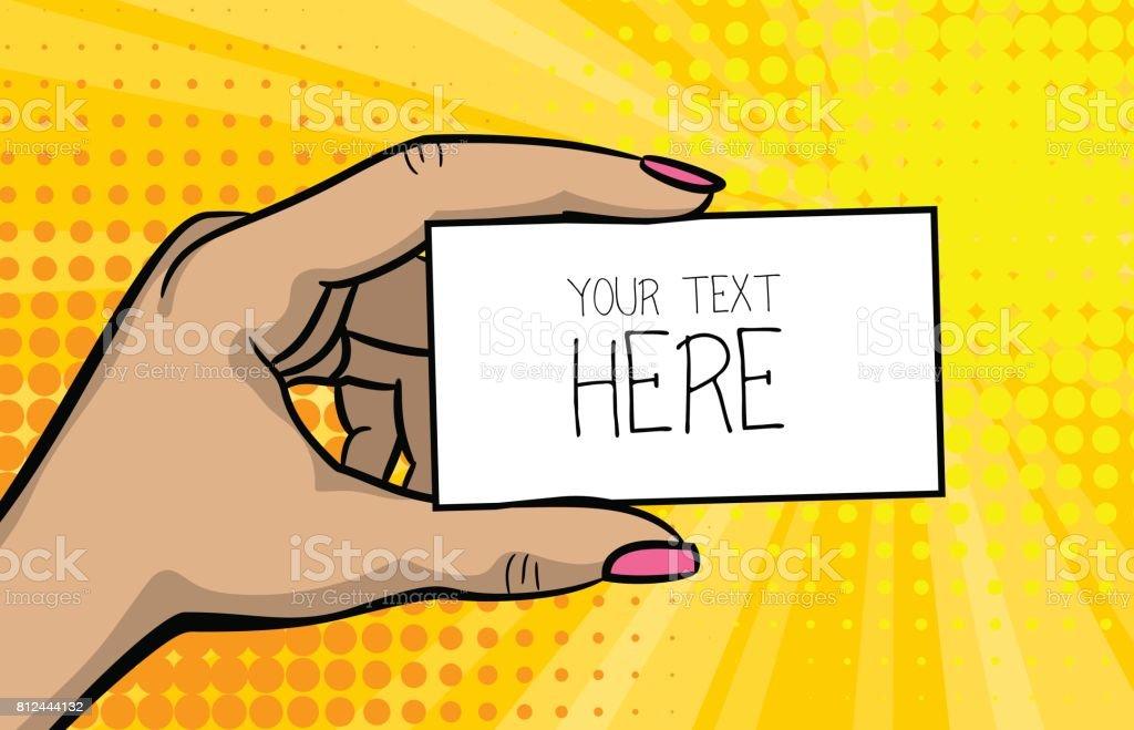 Pop Art Comic Text Business Card Girl Woman Hand Stock Vector Art ...