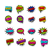 wow news oops goal sport. Pop art comic text phrase set collection. Colored comics book label sticker funny word. Vintage halftone speech bubble balloon box. Colorful chat message vector illustration.