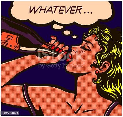 Pop art comic book careless desperate girl binge drinking to forget problems champagne bottle alcohol abuse vector illustration