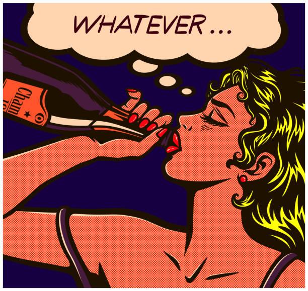 Pop art comics careless girl binge drinking to drown her sorrows alcohol abuse vector illustration vector art illustration