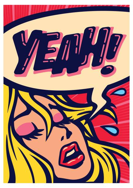 Pop art comics girl screaming for pleasure having orgasm vector illustration Pop art style comic book panel girl screaming for pleasure having orgasm vector illustration sensuality stock illustrations
