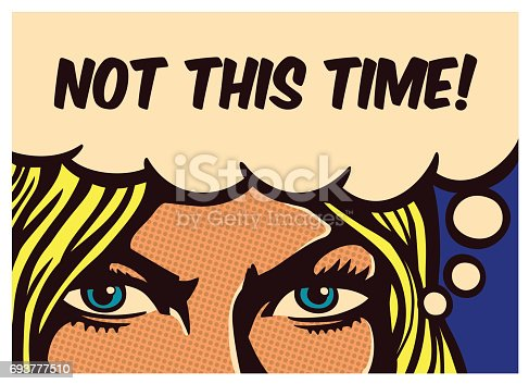 istock Pop art comics panel determined woman with resolute eyes vector illustration 693777510