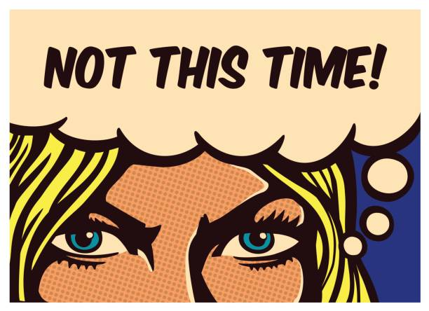 Pop art comics panel determined woman with resolute eyes vector illustration vector art illustration