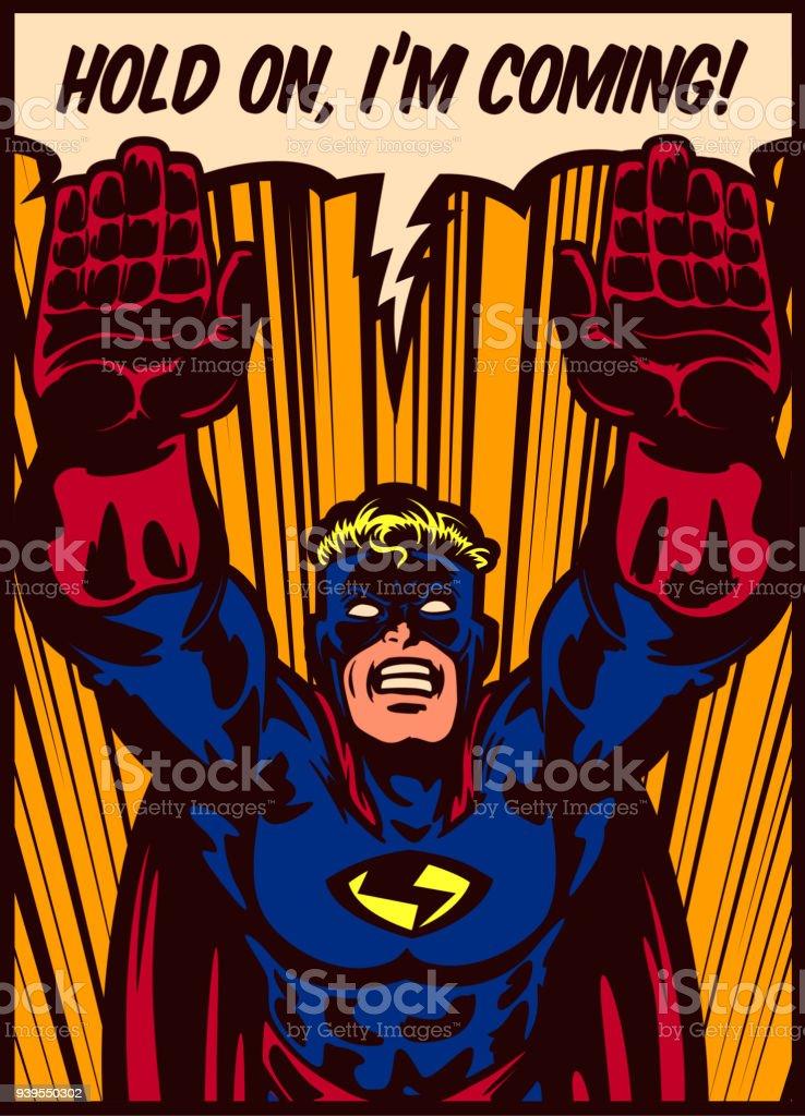 Pop art comics panel flying superhero vector illustration vector art illustration