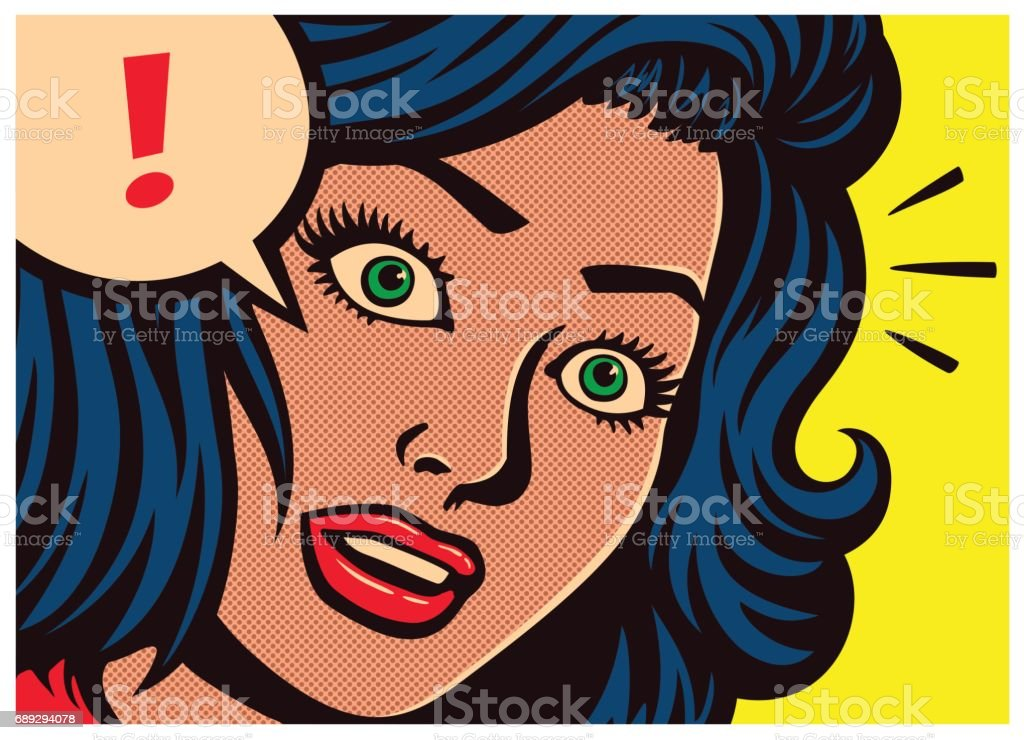 Pop art comics panel surprised girl and speech bubble with exclamation mark vector illustration vector art illustration
