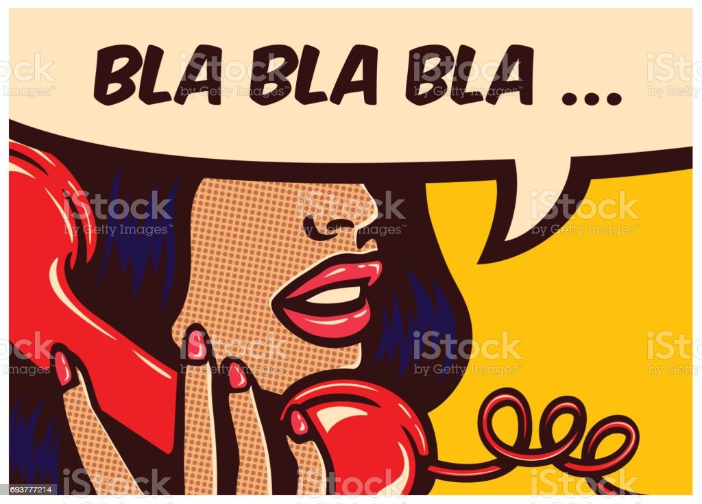 Pop art comics panel with woman talking on vintage phone and speech bubble vector illustration vector art illustration