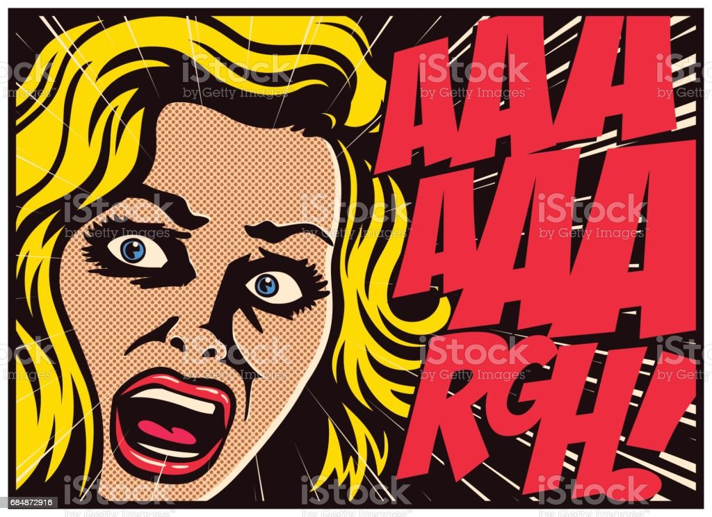 Pop art comics panel woman in a panic screaming in fear vector illustration royalty-free pop art comics panel woman in a panic screaming in fear vector illustration stock vector art & more images of adult
