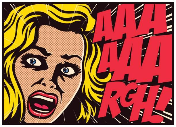 pop アート コミック パネル女性恐怖のベクトル図で叫んでパニックに - 恐怖点のイラスト素材/クリップアート素材/マンガ素材/アイコン素材