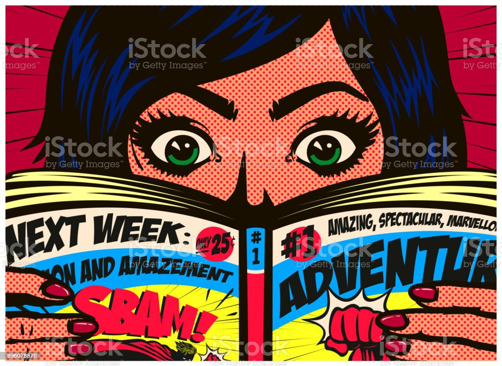 Pop art comics style excited girl reading comic book or graphic novel vector illustration royalty-free pop art comics style excited girl reading comic book or graphic novel vector illustration stock illustration - download image now