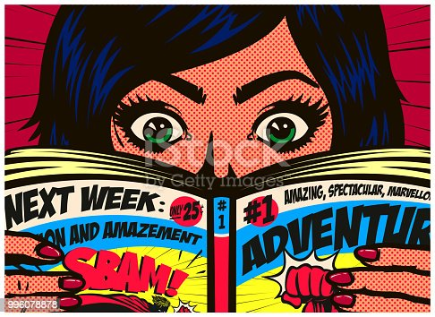 istock Pop art comics style excited girl reading comic book or graphic novel vector illustration 996078878