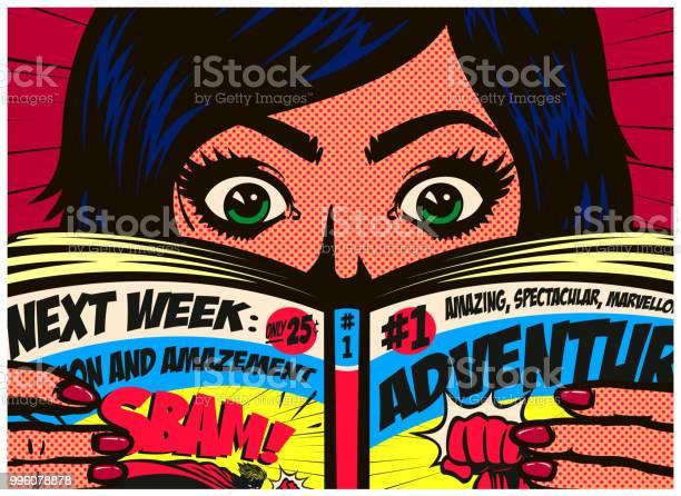 Pop art comics style excited girl reading comic book or graphic novel vector id996078878?b=1&k=6&m=996078878&s=612x612&h=2i5yzl6trthxhqt qmugduildssh941fm6aik u8fe0=