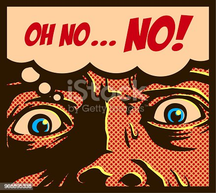 Pop art comic book panel with man in a panic with terrified eyes and face staring at something shocking or dreadful vector illustration