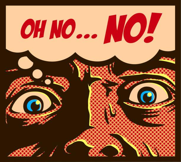 pop art komiksy styl człowieka w panice z przerażonymi oczami wpatrując się w coś strasznego ilustracji wektorowej - horror stock illustrations